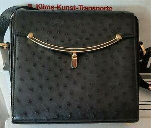 Damen Handtasche, schwarz Straußenleder