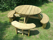 Round picnic table bench Winchester WRB38G 1140mm table top, 38mm treated timber