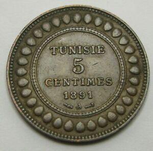 TUNISIA 5 Centimes AH1308//1891A - Bronze - VF - 1005