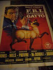 FBI  OPERAZIONE GATTO  WALT DISNEY  MANIFESTO ORIGINALE  2,00 X 1,40 M.