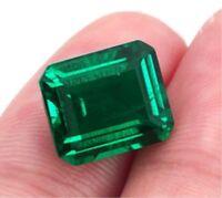 11.58ct Natural Mined Green Emerald Colombia 12x16mm Emerald Cut AAAAA+ Gemstone