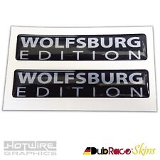 PAIR of Wolfsburg Edition Badges Black&Silver - VW Golf Camper (Resin Domed)
