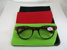 ~LOT of 3~ Red, Lime & Black MEDIUM Neoprene Eyeglass Soft Reading Glass Cases