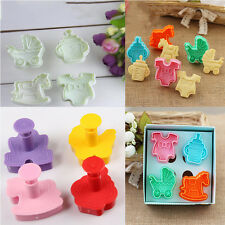 3D Baby Clothes Shower Hand Press Stamp Biscuit Cookie Plunger Cutter Mold Set