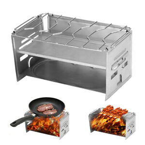 Outdoor Fold Camping Wood Stove Potable Stainless Steel Hiking Picnic BBQ Grill