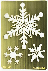 Solid Brass Stencil Template For Embossing & Stenciling Snowflakes FS-1040