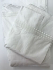 Pottery Barn Grand Embroidered Organic Cotton Sheet Set California King White
