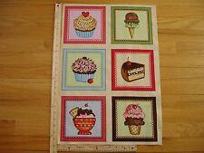 "Cup Cakes Sprinkles Ice Cream Cotton Quilt Fabric Panel Blocks (6) 7"" x 7"" Ea"