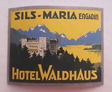 SWITZERLAND Sils-Maria Engadin - Hotel Waldhaus - vintage luggage label