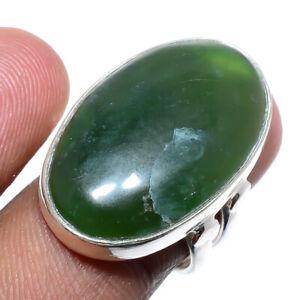 Nephrite Jade Gemstone 925 Sterling Silver Handmade Jewelry Ring s.6 JR-2564