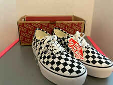 Vans Authentic Platform Checkerboard White Black Shoes Size 8.5 Men's 10 Women's
