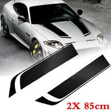 Universal Black Racing Car Hood Stripe Decal Auto Vinyl Bonnet Sticker 85cm 2PCS