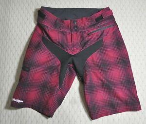 Troy Lee Designs Womens MTB Shorts Size L 7/8 Red Stretch Plaid Adjustable Waist