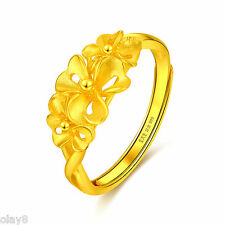 New Pure 999 24K Yellow Gold Band Women's Lucky Flower Ring Size Adjustable