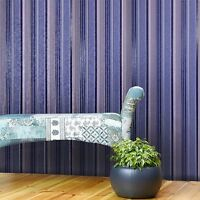 Wallpaper roll navy blue stripes modern wall coverings textured striped lines 3D