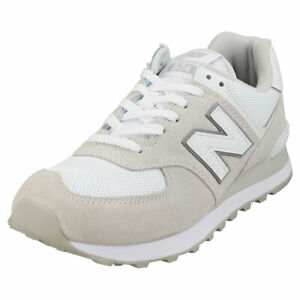 New Balance 574 Mens Off White Suede & Textile Fashion Trainers