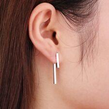 Ear Jacket Silver Plated Geometric T Sterling Silver Bar Earrings, Front Back