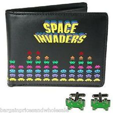 Official Retro 80s Arcade Space Invaders Game Wallet And Cufflink Gift Set