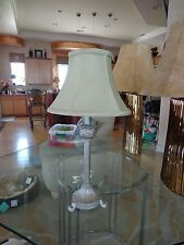 """French Empire Cast Metal Silver Table Lamp 23"""" Claw Feet satin sage green shade"""