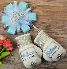 Stunning sparkly boxing gloves pram charm in baby blue with bling rhinestones
