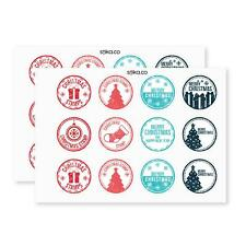 Pack of 24 paper labels, Christmas stamp stickers, Christmas, Stationary