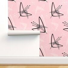 Removable Water-Activated Wallpaper Boomerangs Retro Mid Century Atomic Era Pink