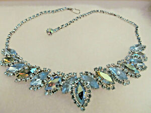 Beautiful Vintage Unsigned WEISS AB Blue Navette Rhinestone Necklace EUC