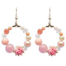 Boucles D'oreilles Anneau - Fleurs En Fimo Rose et Perles