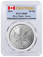 2018 Canada 1 oz Silver Maple Leaf Incuse $5 PCGS MS69 FS Flag SKU52146