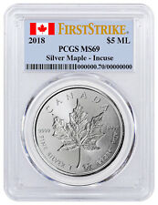 2018 Canada 1 oz Silver Maple Leaf Incuse $5 PCGS MS69 FS Flag SKU52146