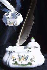 Encrier porte-plume en FAIENCE DE MOUSTIERS art céramique peint main Inkpot pot