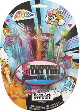 GRAFIX 4 TATTOO GLITTER GEL PENS INCLUDES BODY ART STENCIL AND PEN CHARMS