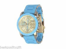 NEW-DIESEL TURQUOISE BLUE SILICONE WRAPPED GOLD S/STEEL+CHRONO WATCH-DZ5360