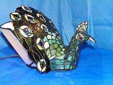 TIFFANY STYLE JEWELED STAINED GLASS PEACOCK LAMP