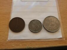 3 x Netherlands Wilhelmina 1948 Coins 1 Cent Bronze 10 Cent, 25 Cent Nickel
