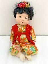 "Vintage Ichimatsu Gofun KIMONO Baby Japanese Girl Doll 9"" Compo Gofun inlaid eye"