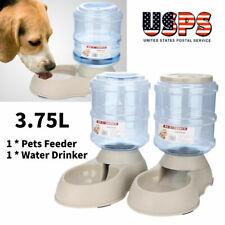2Packs 3.75L Pet Dog Cat Automatic Dispenser Feeder Bowl Bottle Food Device Dish