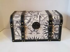 Decorative Fabric/Leather Round Top Trunk/Chest with Compass Pattern