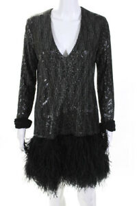 Le Superbe Womens Sequin Dress With Feather Fringe Black Size 8