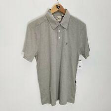 Volcom Mens Banger Polo Shirt Size S Gray Heathered Cotton Blend Short Sleeve
