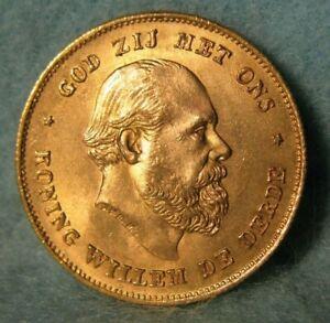 1875 Netherlands 10 Gulden World Foreign Gold Coin KM 105 Near Gem Uncirculated