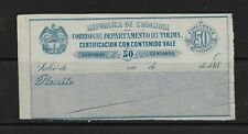 COLOMBIA 1888 INSURED LETTER COVER 50 CENTS SC:G15 (S708)