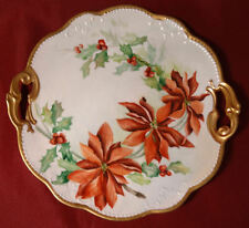 Christmas Chrysanthemums Porcelain Handpainted Charger Cake Cabinet Plate