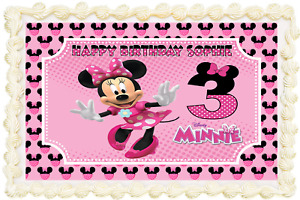 MINNIE MOUSE RECTANGLE / SQUARE PERSONALISED ICING EDIBLE COSTCO CAKE TOPPER 159
