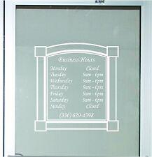 Decorative Business Store Hours Sign Vinyl Decal Sticker 19x20 Window Door Glass