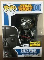 DAMAGED BOX Darth Vader Star Wars 01 Funko Pop Chrome Hot Topic Exclusive