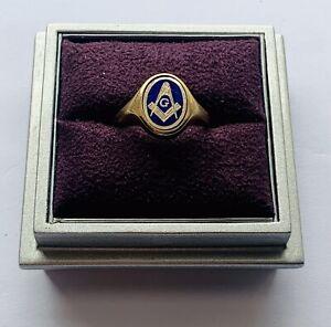 """Superb 9ct Yellow Gold & Enamel Masonic Swivel Ring"" Heavy 5.3g"