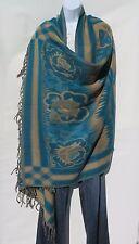 Yak Wool Blend|Shawl/Throw|Handmade|Reversible|Turquoise/Tan