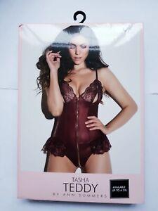 Ann Summers Tasha Crotchless Teddy Burgundy XL 20-22 New Sexy Erotic Play Peep