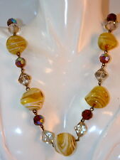 """Vintage Swirled Italian Art Glass Wired Bead Givre Crystal 24"""" Necklace 9f 24"""